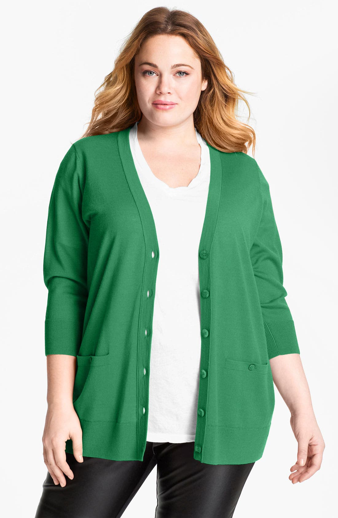 Main Image - Sejour 'Girlfriend' Three Quarter Sleeve Cardigan (Plus Size)
