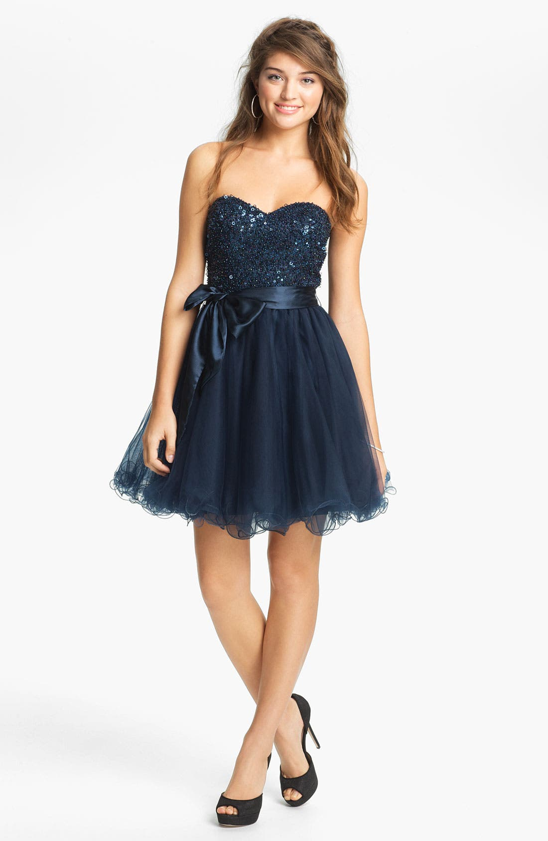 Alternate Image 1 Selected - Sean Collection Embellished Strapless Tulle Cocktail Dress (Online Only)