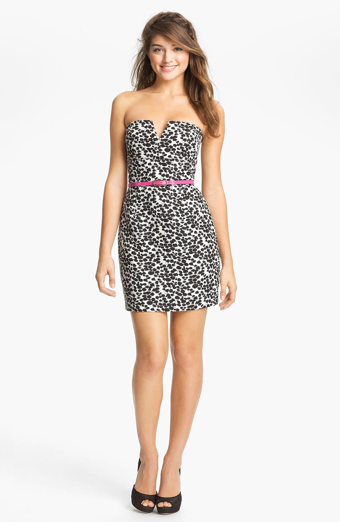 Main Image - Max & Cleo Print Strapless Sheath Dress