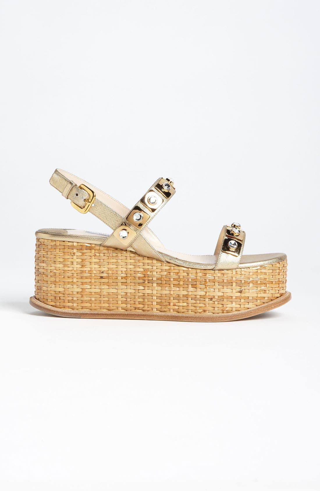 Alternate Image 4  - Prada Two Strap Wedge Sandal