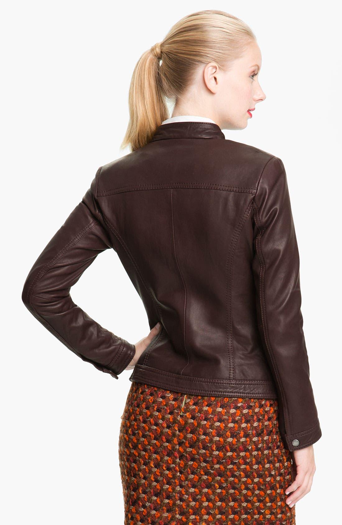 Alternate Image 2  - MICHAEL Michael Kors Leather Scuba Jacket (Petite)