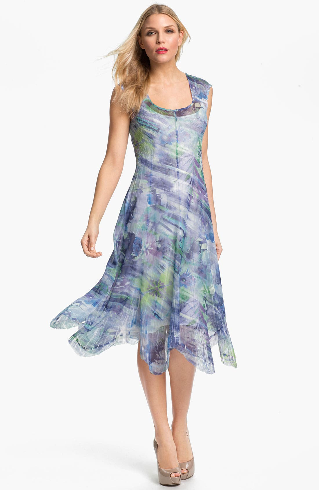 Alternate Image 1 Selected - Komarov Sheer Print A-Line Dress