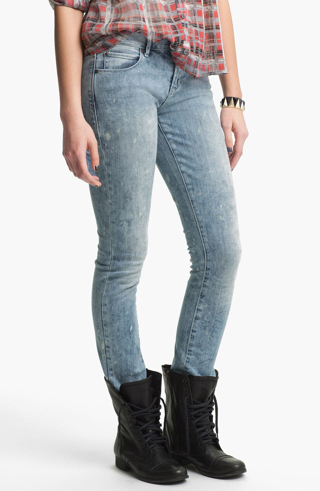 Alternate Image 2  - Articles of Society 'Ashley' Acid Wash Skinny Jeans (Coast) (Juniors)