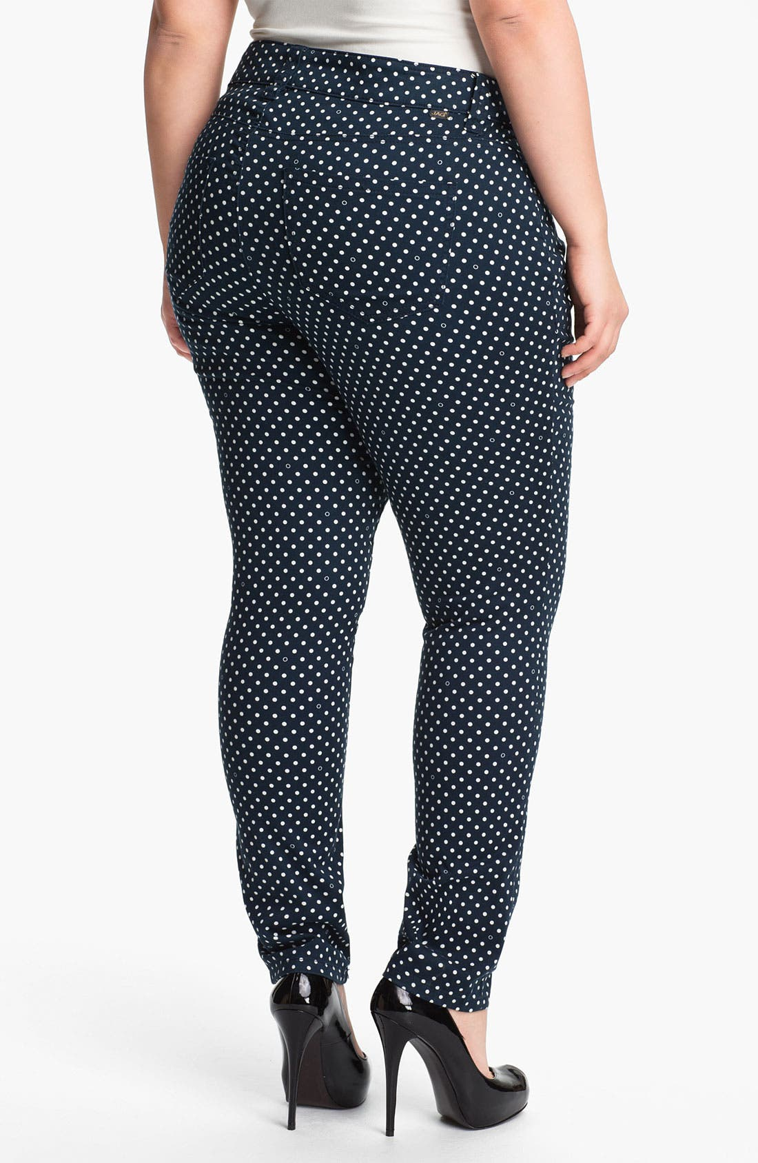Alternate Image 2  - Jag Jeans Polka Dot Slim Ankle Jeans (Plus Size)