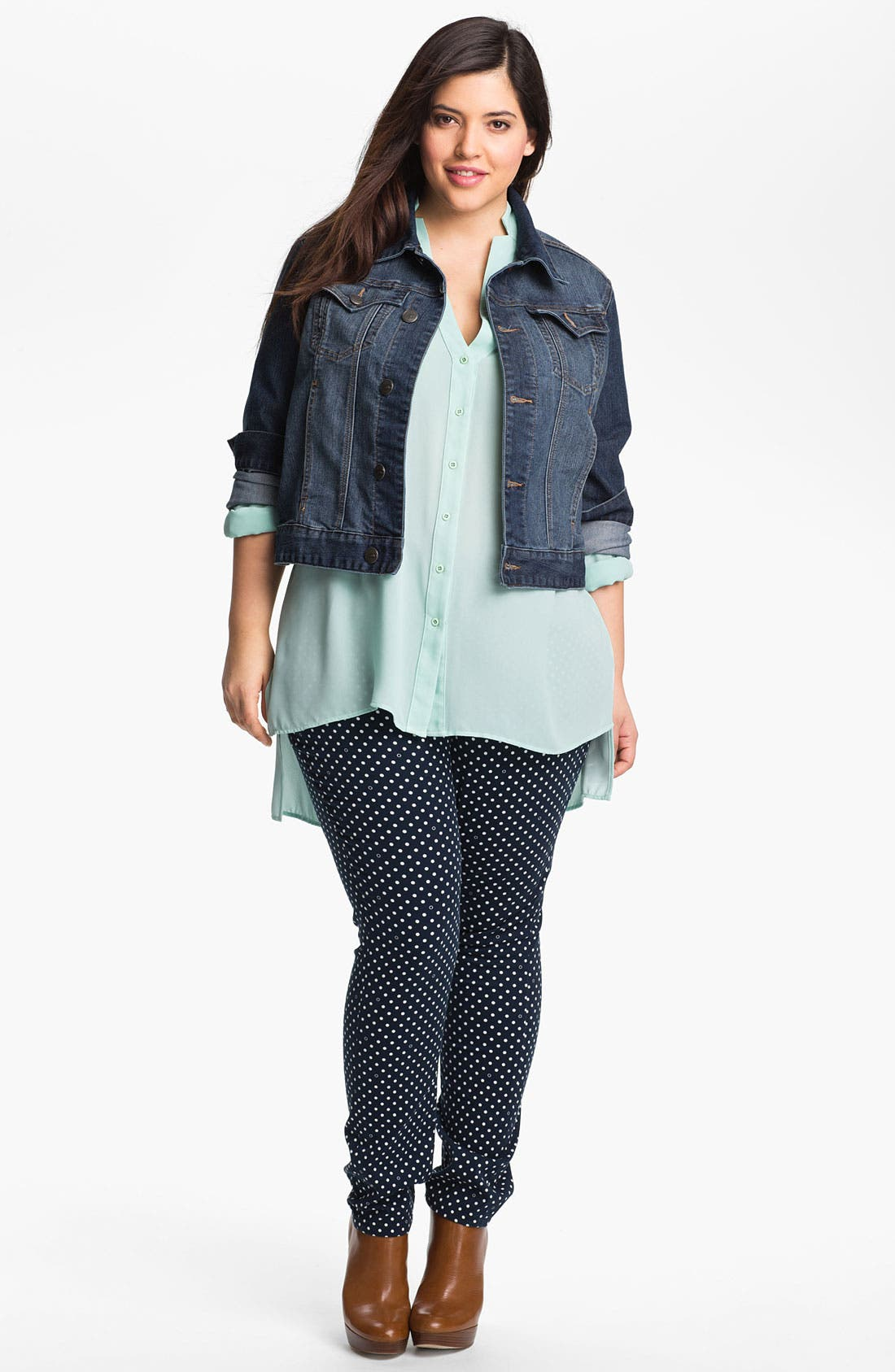 Alternate Image 4  - Jag Jeans Polka Dot Slim Ankle Jeans (Plus Size)