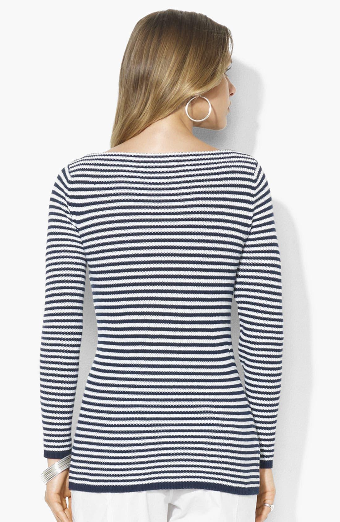 Alternate Image 2  - Lauren Ralph Lauren Stripe Bateau Neck Sweater
