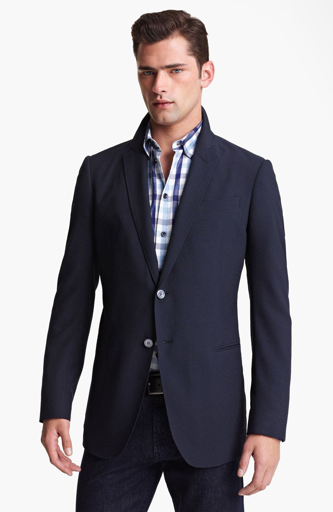 Armani Collezioni Seersucker Sportcoat,                         Main,                         color, Solid Dark Blue