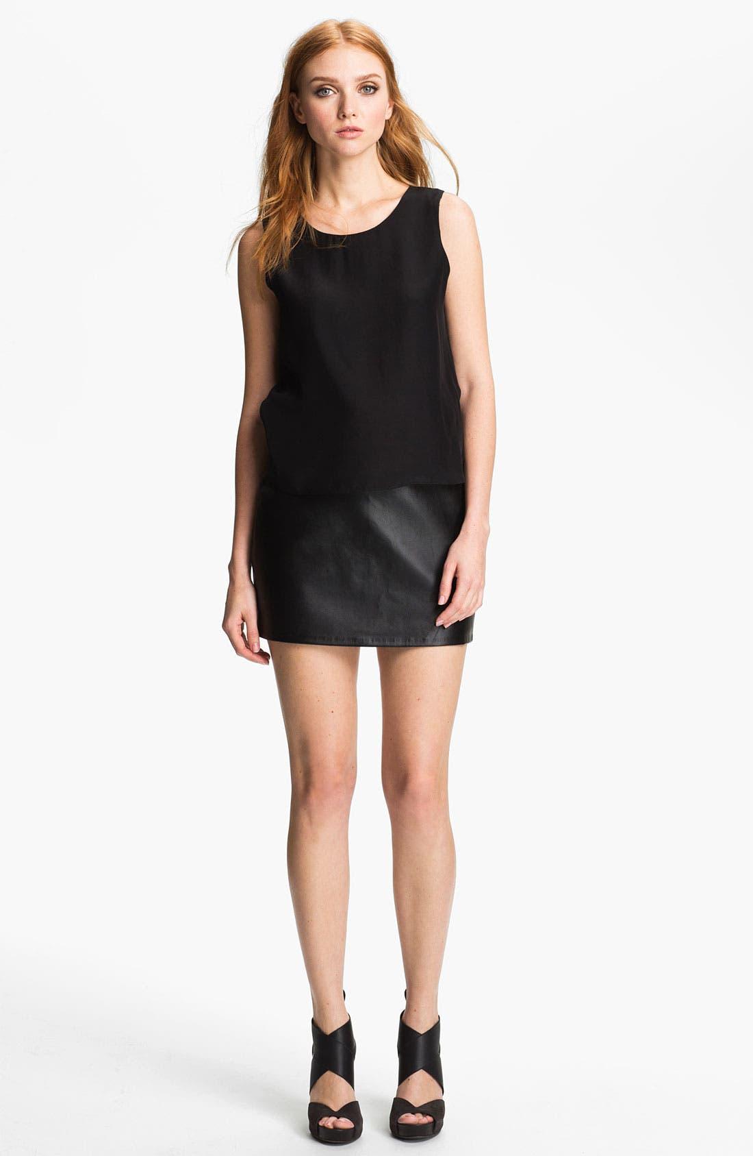 Main Image - Parker 'Grace' Silk & Leather Blouson Dress