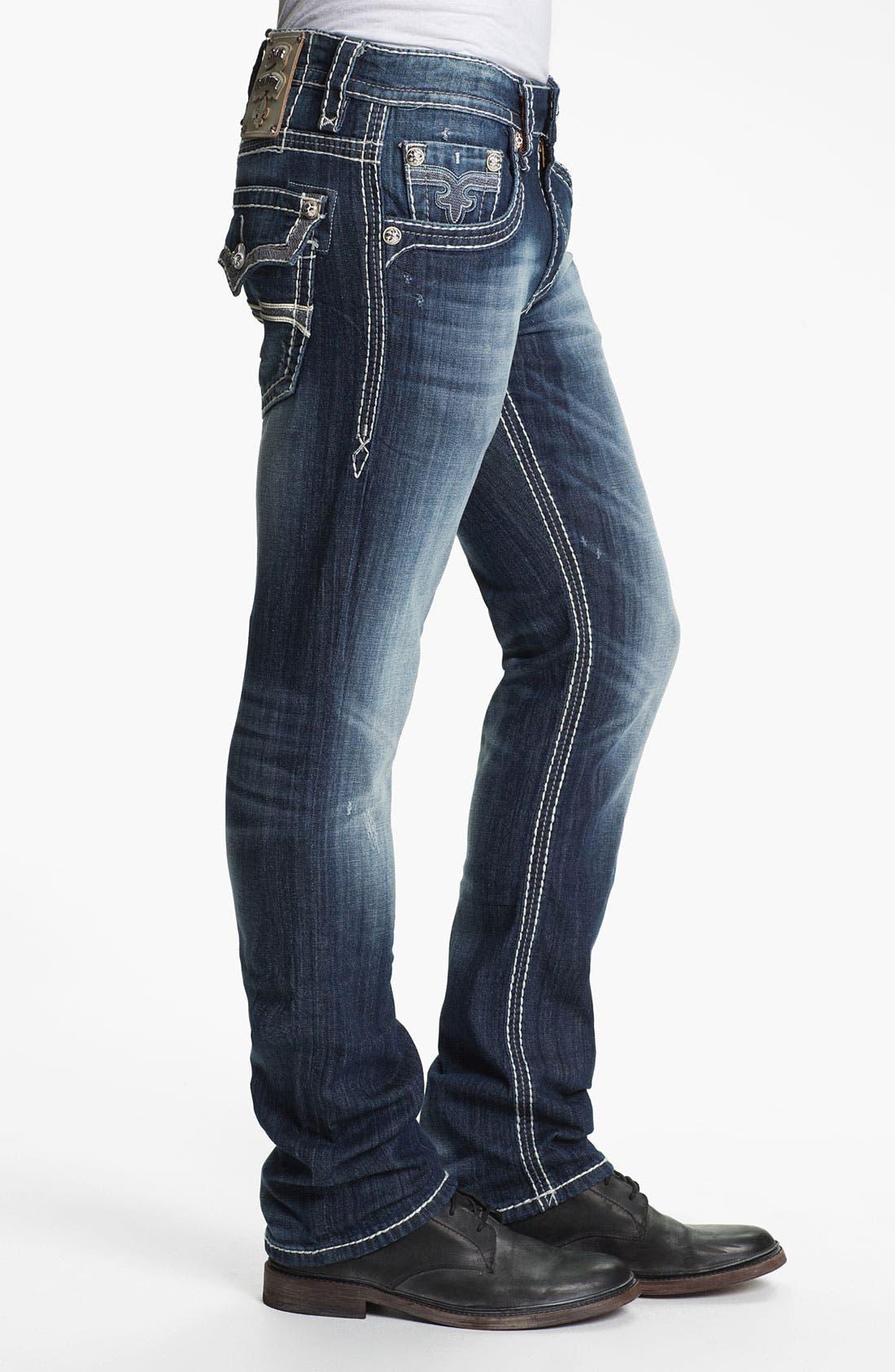 Alternate Image 3  - Rock Revival 'Rocky' Straight Leg Jeans (Medium Blue)