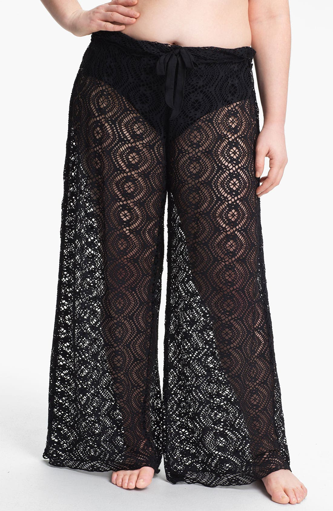 Alternate Image 1 Selected - Becca Etc. 'Marbella' Crochet Cover-Up Pants (Plus Size)