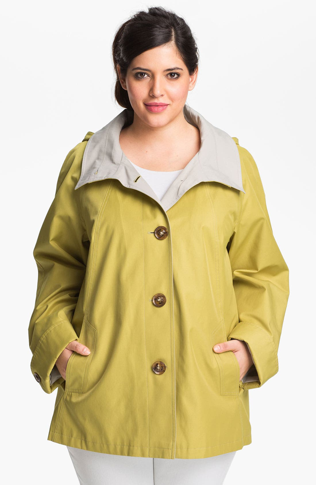 Alternate Image 1 Selected - Gallery Short A-Line Jacket with Detachable Hood (Plus)