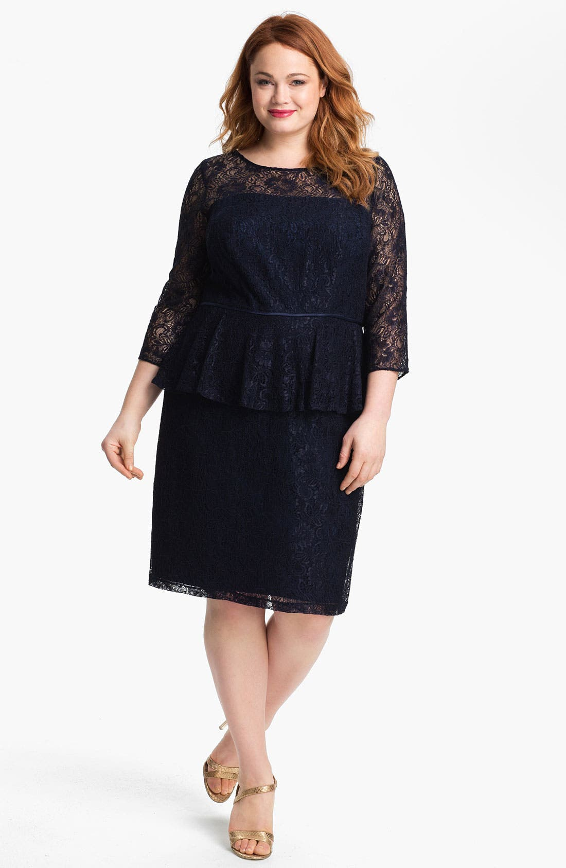 Alternate Image 1 Selected - Adrianna Papell Lace Peplum Dress (Plus)