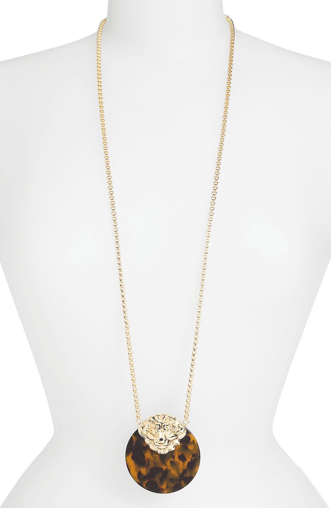 Main Image - Anne Klein Long Lion Head Pendant Necklace