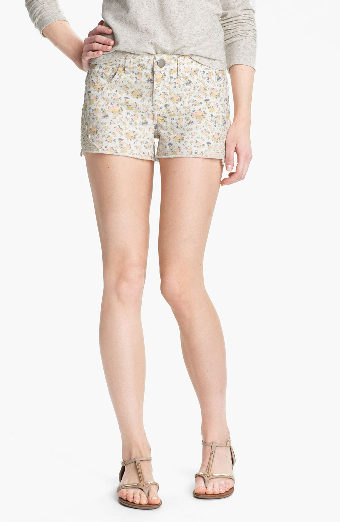 Alternate Image 1 Selected - Fire Crochet Trim Print Cutoff Denim Shorts (Juniors)