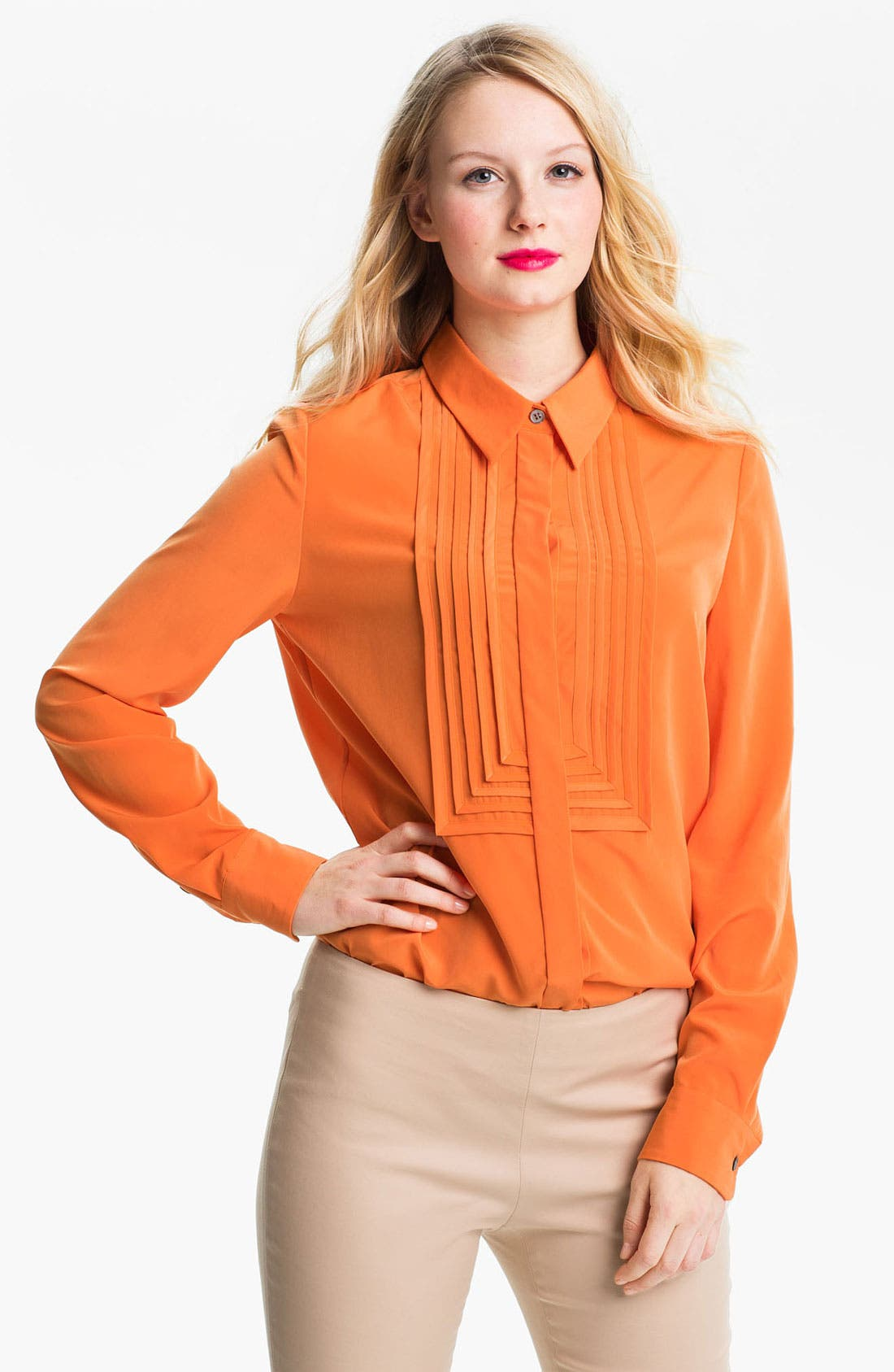 Alternate Image 1 Selected - Vince Camuto Pleat Bib Shirt