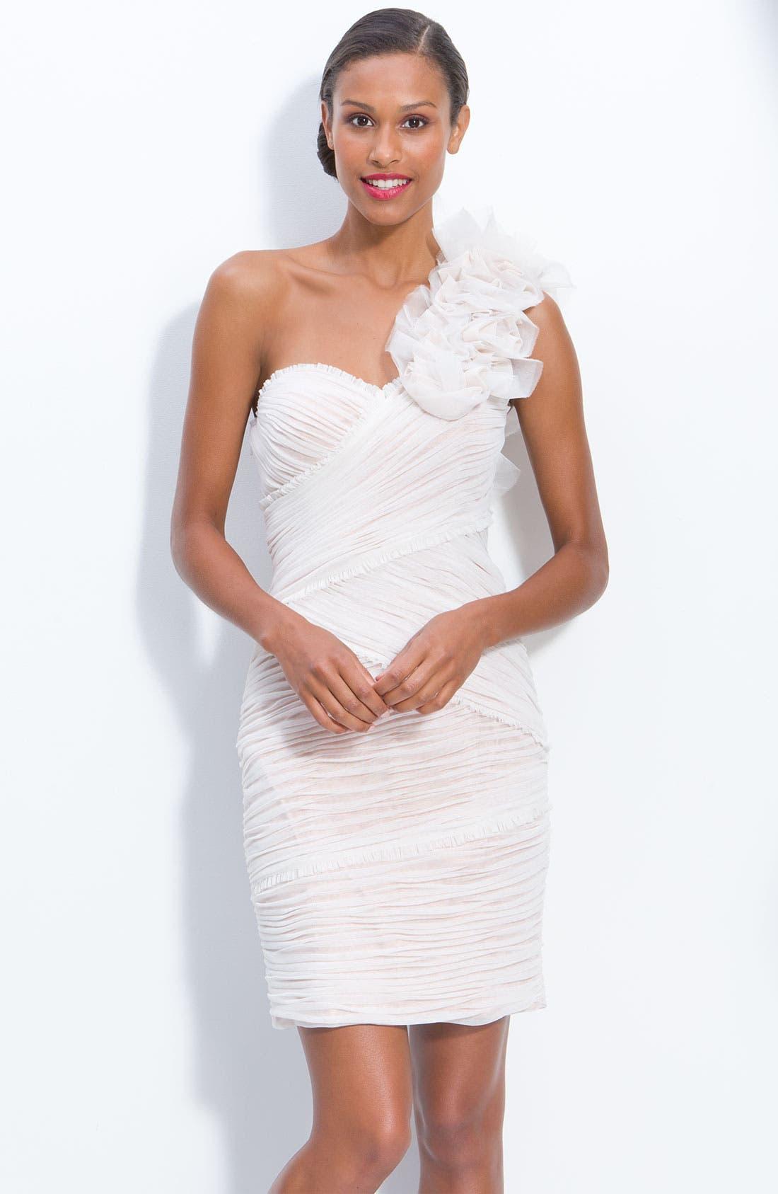 Alternate Image 1 Selected - JS Collection One Shoulder Ruched Mesh Dress (Petite)