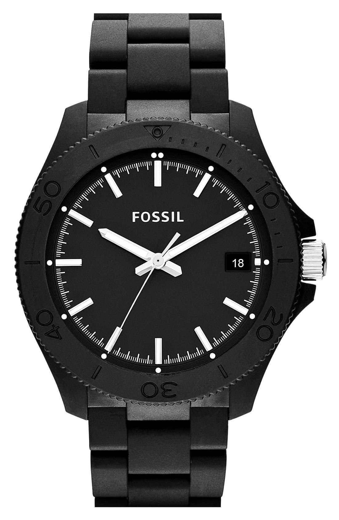 Alternate Image 1 Selected - Fossil 'Retro Traveler' Resin Bracelet Watch, 44mm