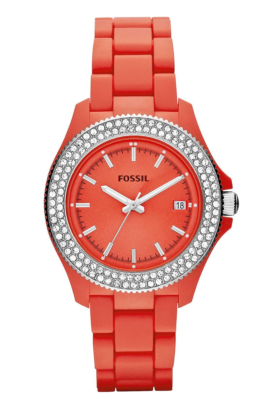 Main Image - Fossil 'Retro Traveler' Crystal Bezel Bracelet Watch, 36mm
