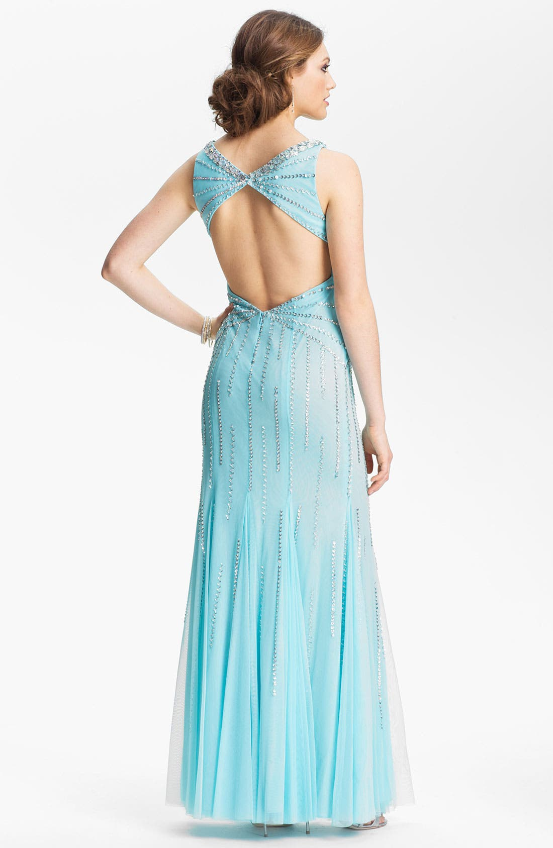 Alternate Image 2  - Sean Collection Embellished Mesh Trumpet Gown (Online Only)