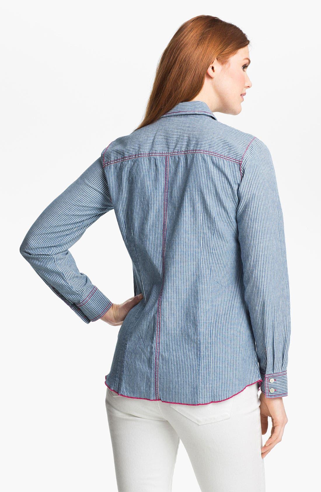 Alternate Image 2  - Shirt 469 Railroad Stripe Long Sleeve Denim Shirt