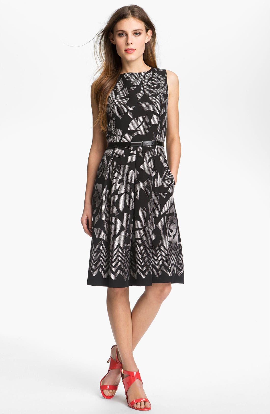 Alternate Image 1 Selected - Tahari Pleated Print Twill Dress