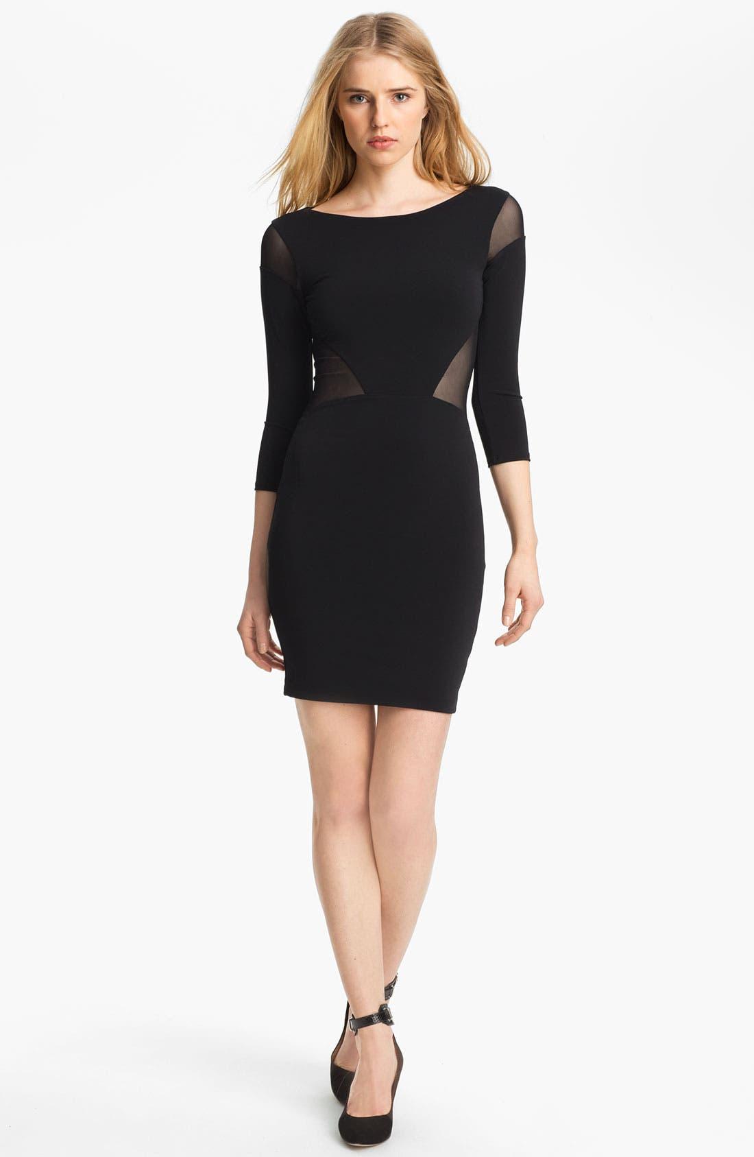 Sheer Inset Dress,                             Main thumbnail 1, color,                             Black