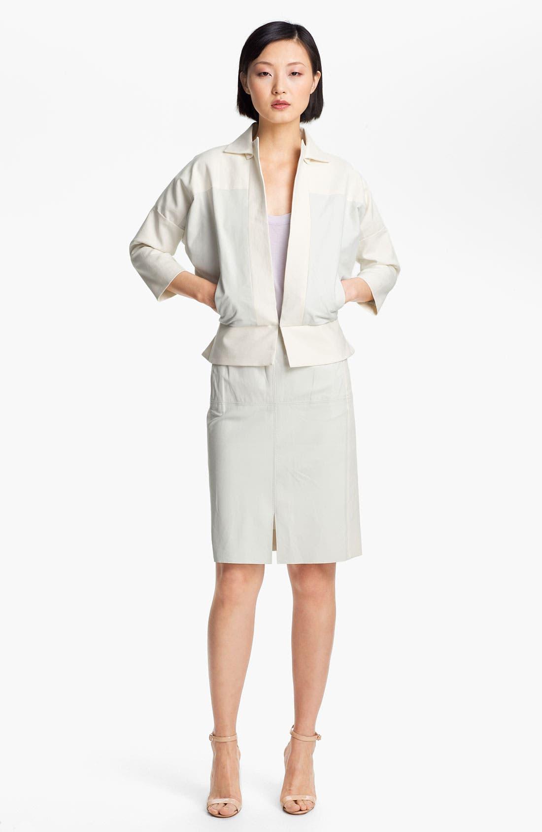 Alternate Image 2  - Halston Heritage Leather Detail Cotton Jacket