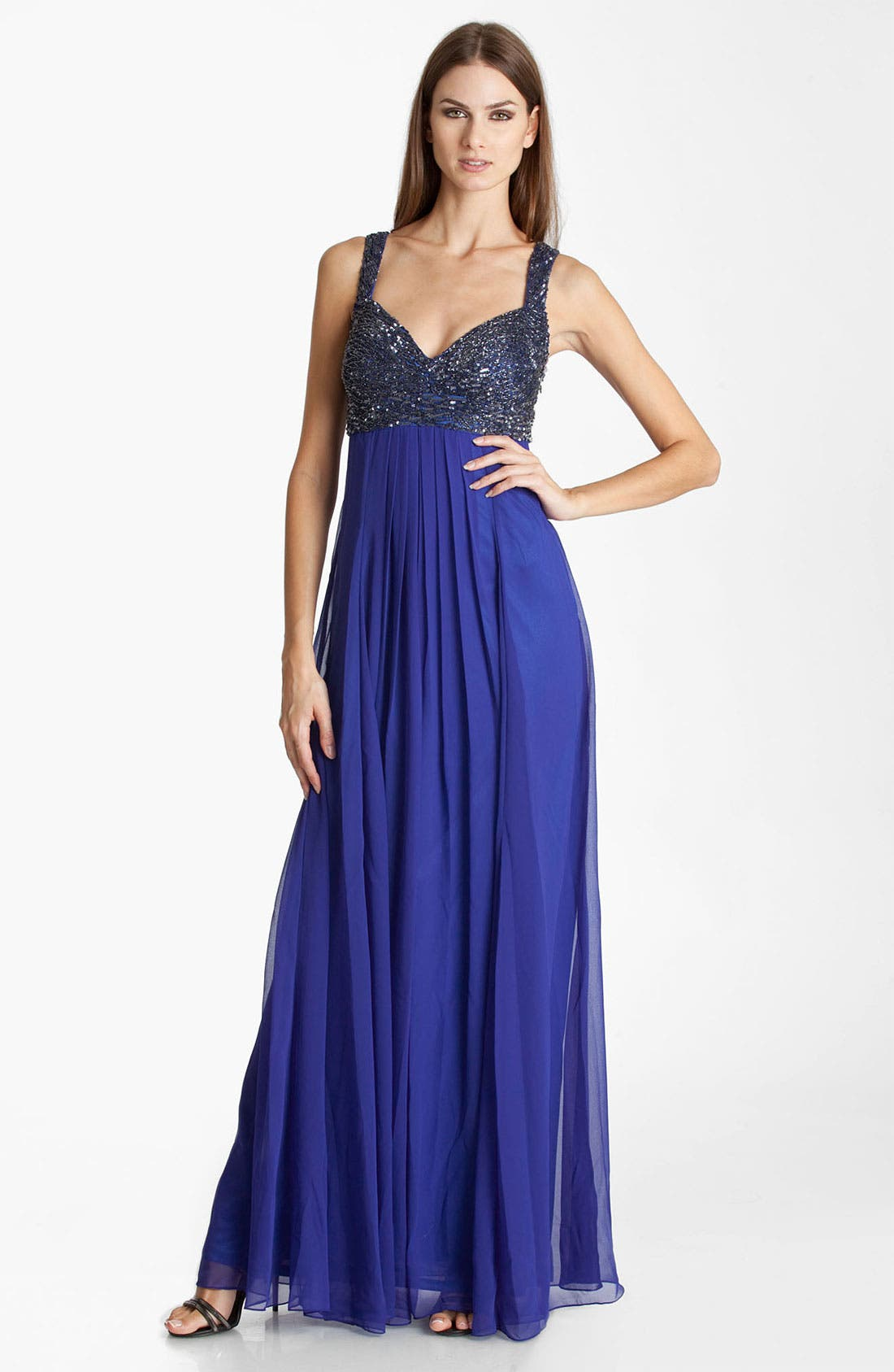 Alternate Image 1 Selected - JS Collection Beaded Chiffon Gown