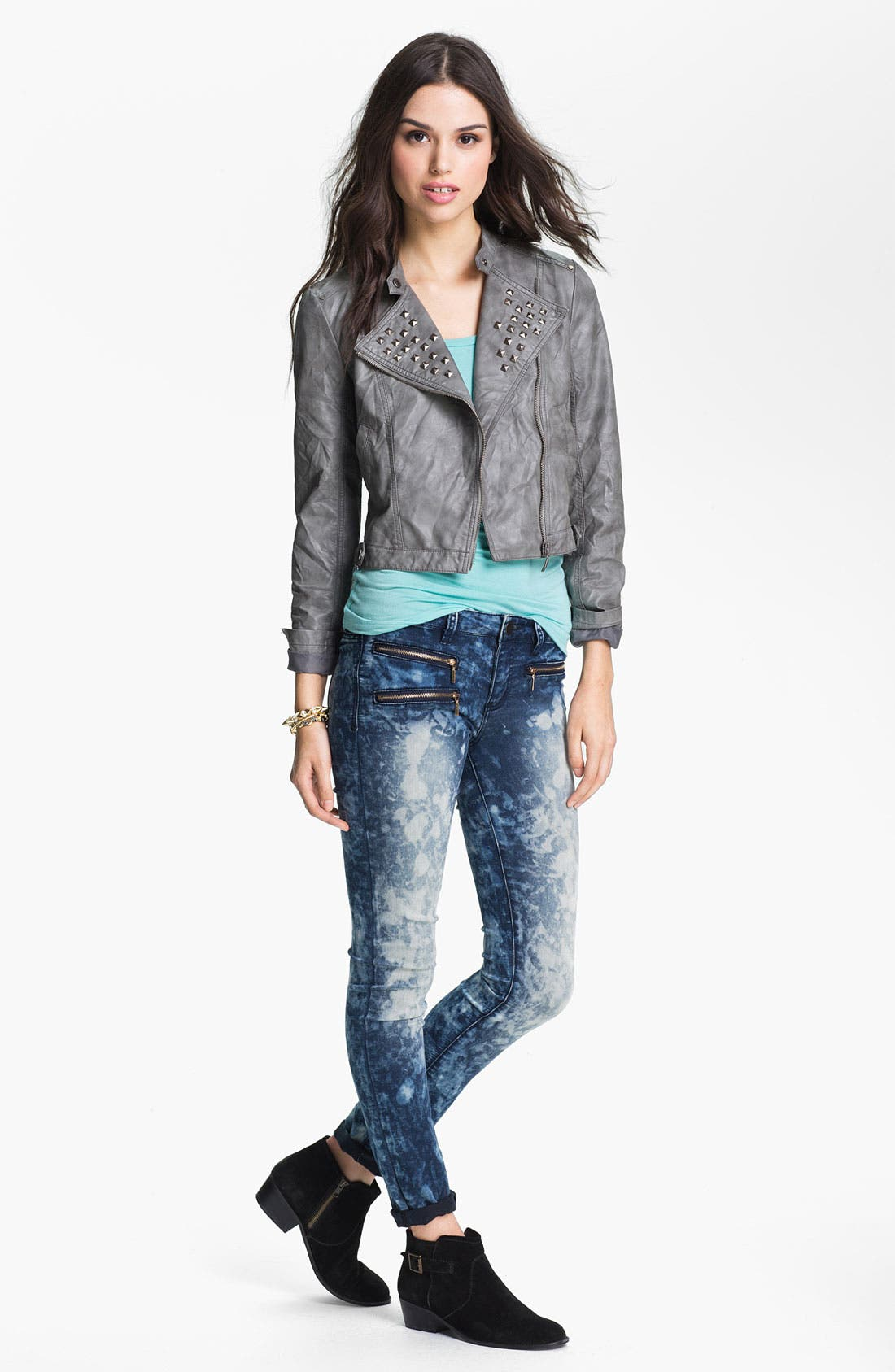 Alternate Image 2  - Collection B Stud Lapel Cropped Biker Jacket (Juniors)