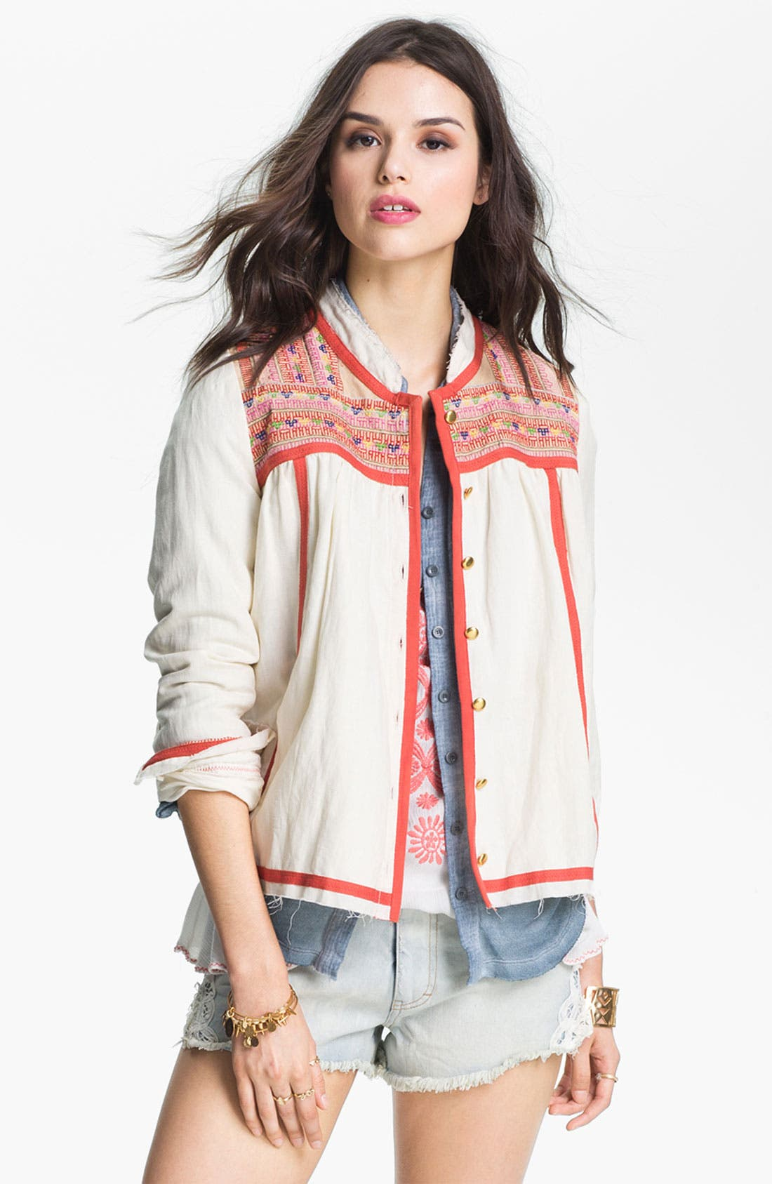 Alternate Image 1 Selected - Free People 'Prairie' Embroidered Swing Jacket