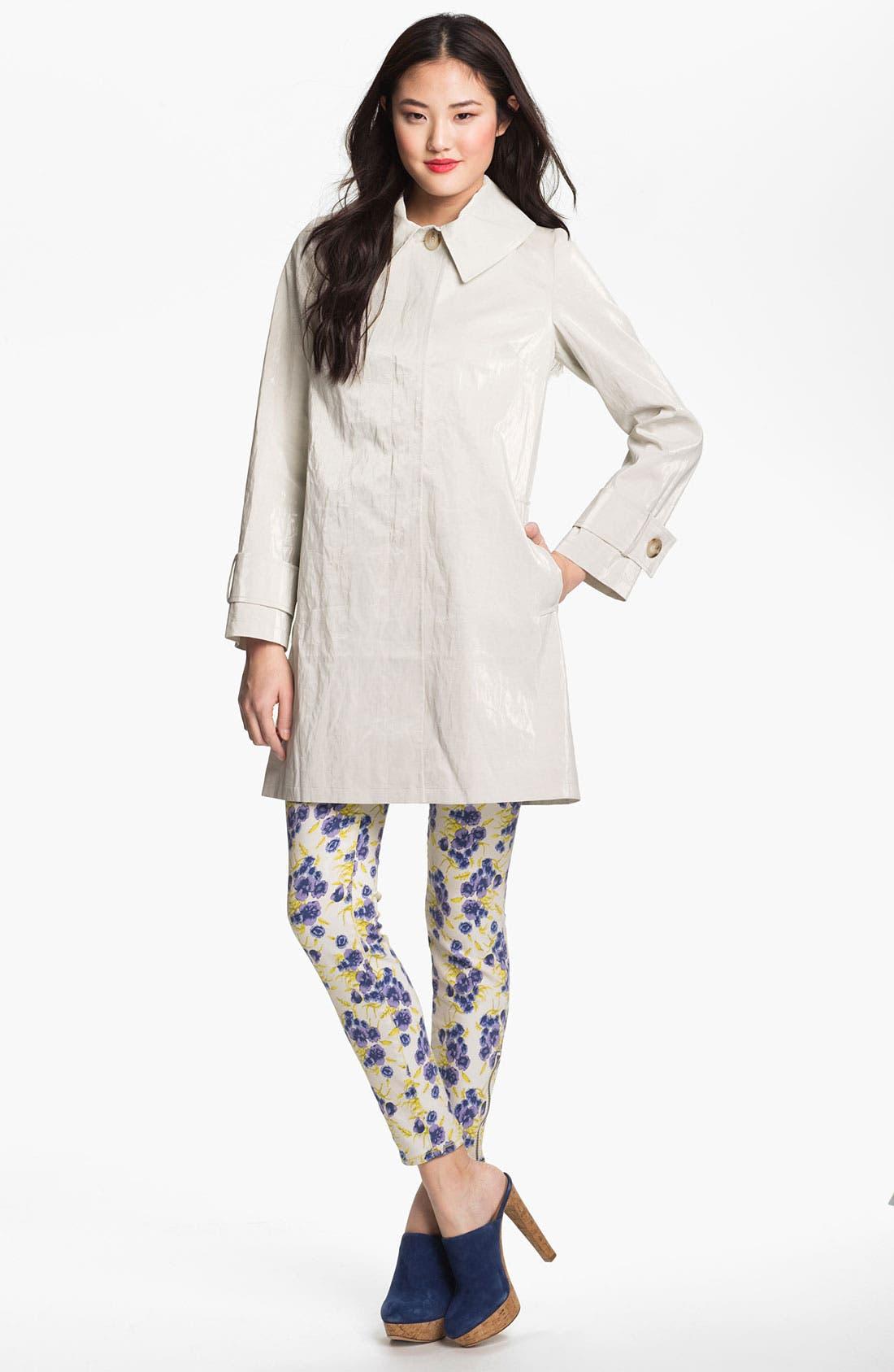 Main Image - Helene Berman 'Mod' Coated Linen Blend Coat