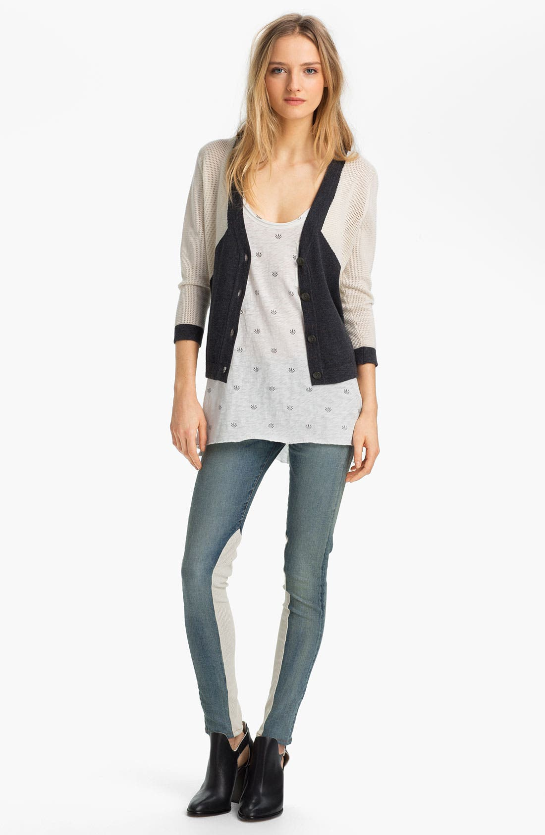 Alternate Image 5  - rag & bone/JEAN Slim Leather & Denim Jeans