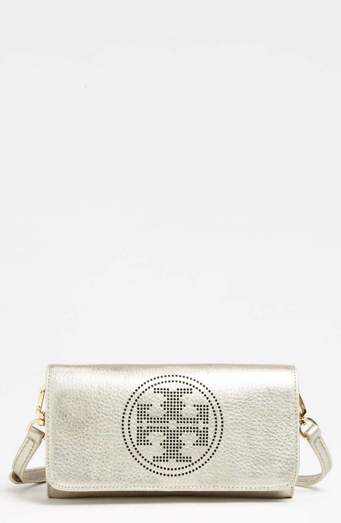 Main Image - Tory Burch 'Small' Perforated Logo Clutch