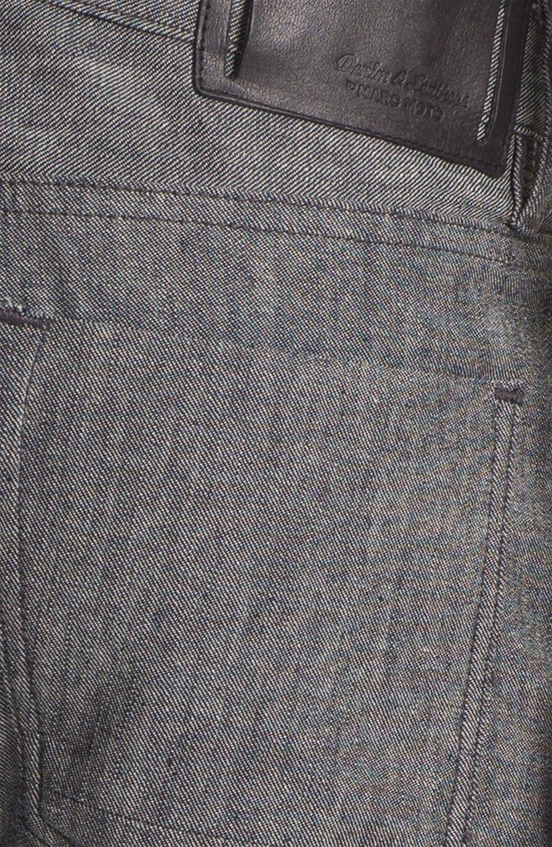 Alternate Image 4  - Denim & Leathers by Andrew Marc Tweed Slim Straight Leg Selvedge Jeans (Grey)