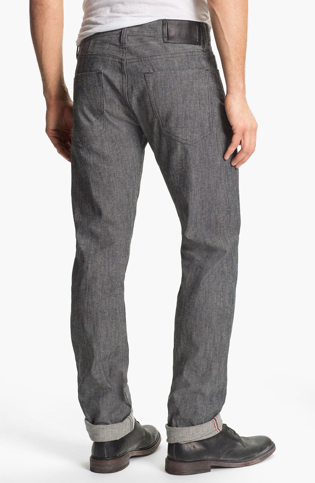 Alternate Image 1 Selected - Denim & Leathers by Andrew Marc Tweed Slim Straight Leg Selvedge Jeans (Grey)