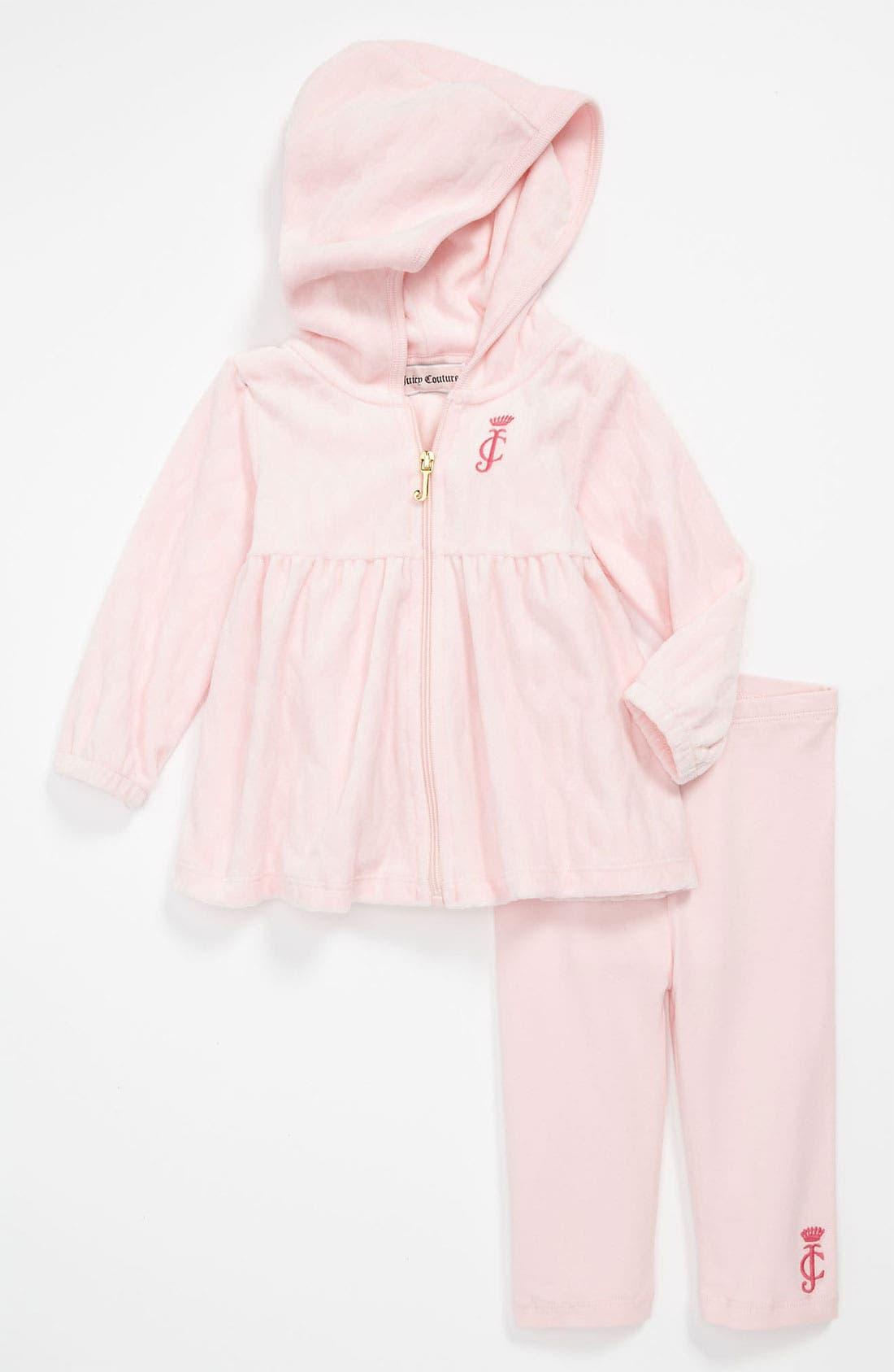 Alternate Image 1 Selected - Juicy Couture Tunic Hoodie & Leggings (Infant)