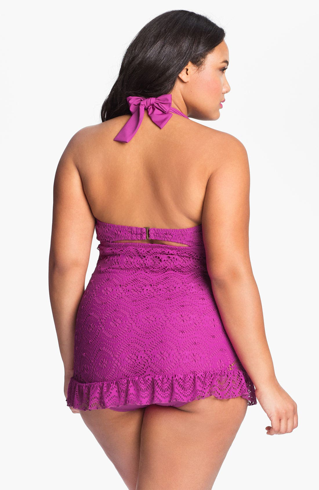 Alternate Image 2  - Becca Etc. 'Marbella' Crochet Swimdress (Plus Size)