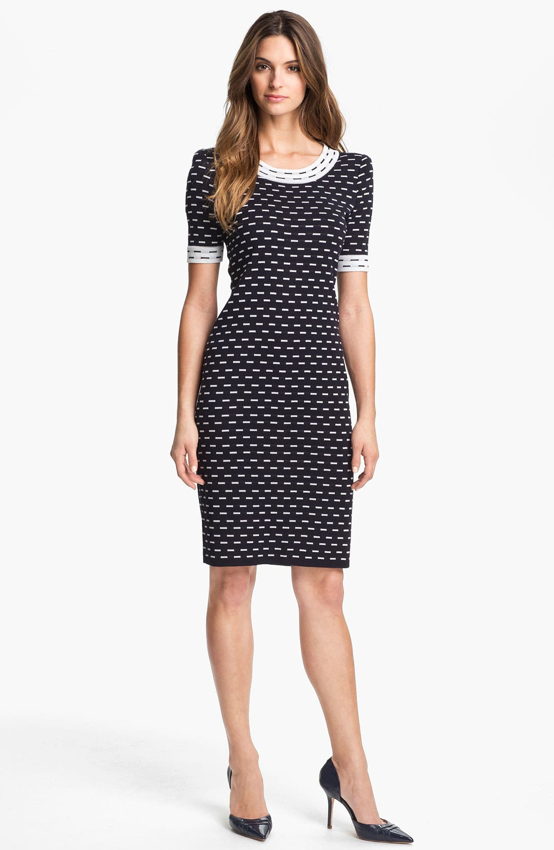 Exclusively Misook 'Dina' Dress,                         Main,                         color, Navy Multi