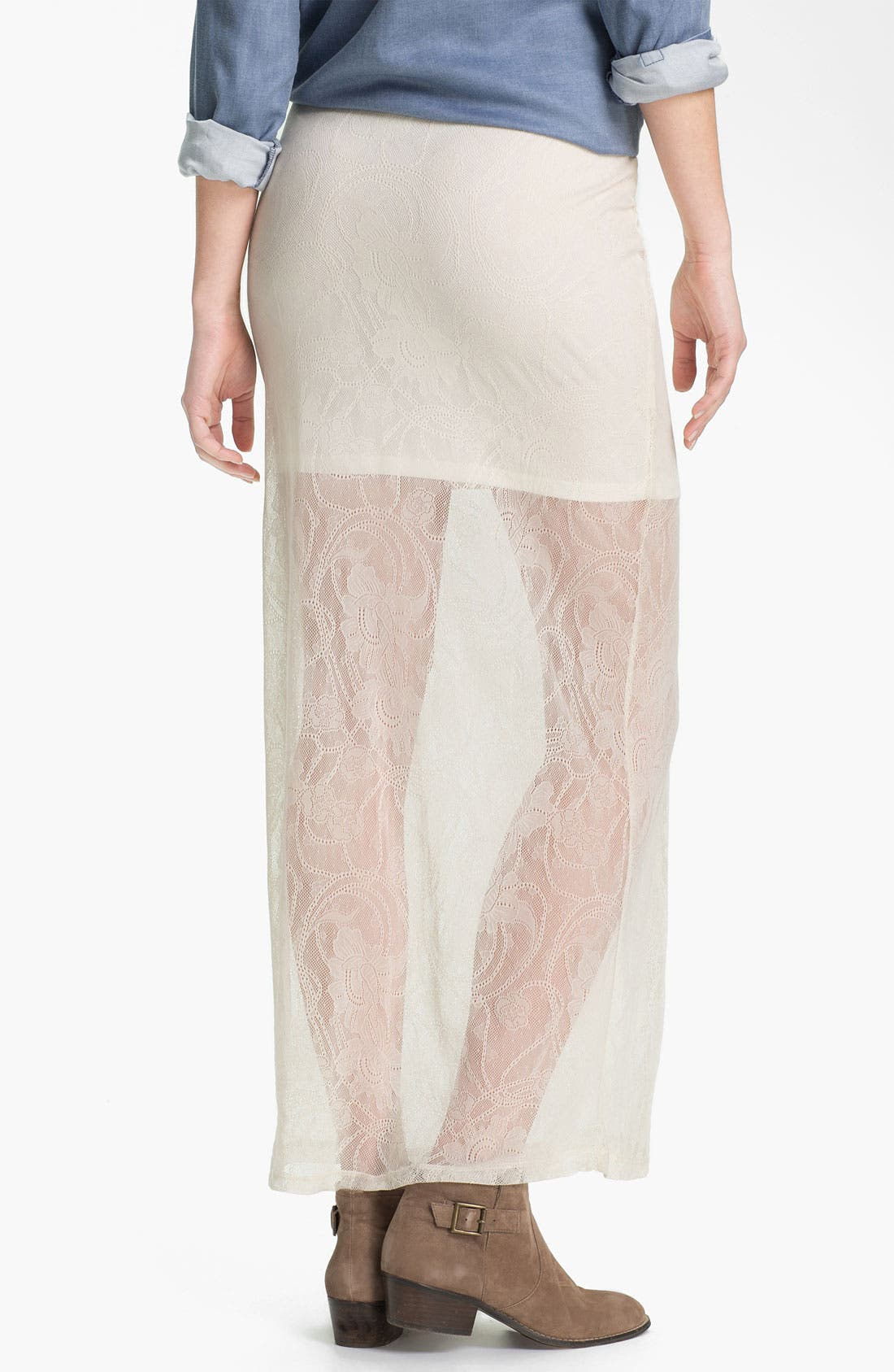 Alternate Image 2  - h.i.p. Half Sheer Lace Maxi Skirt (Juniors)