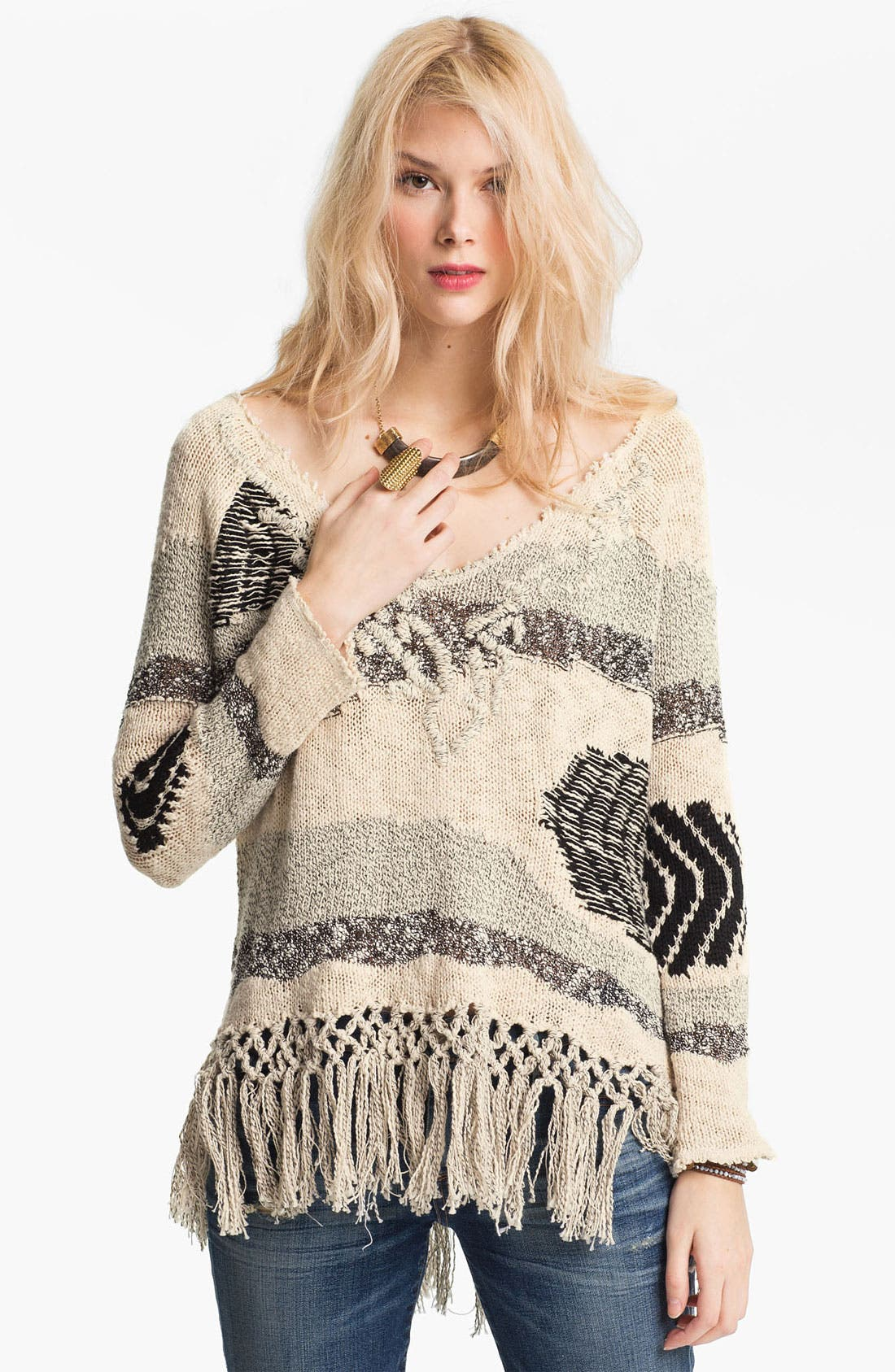 Alternate Image 1 Selected - Free People 'Landscape' Fringed Sweater