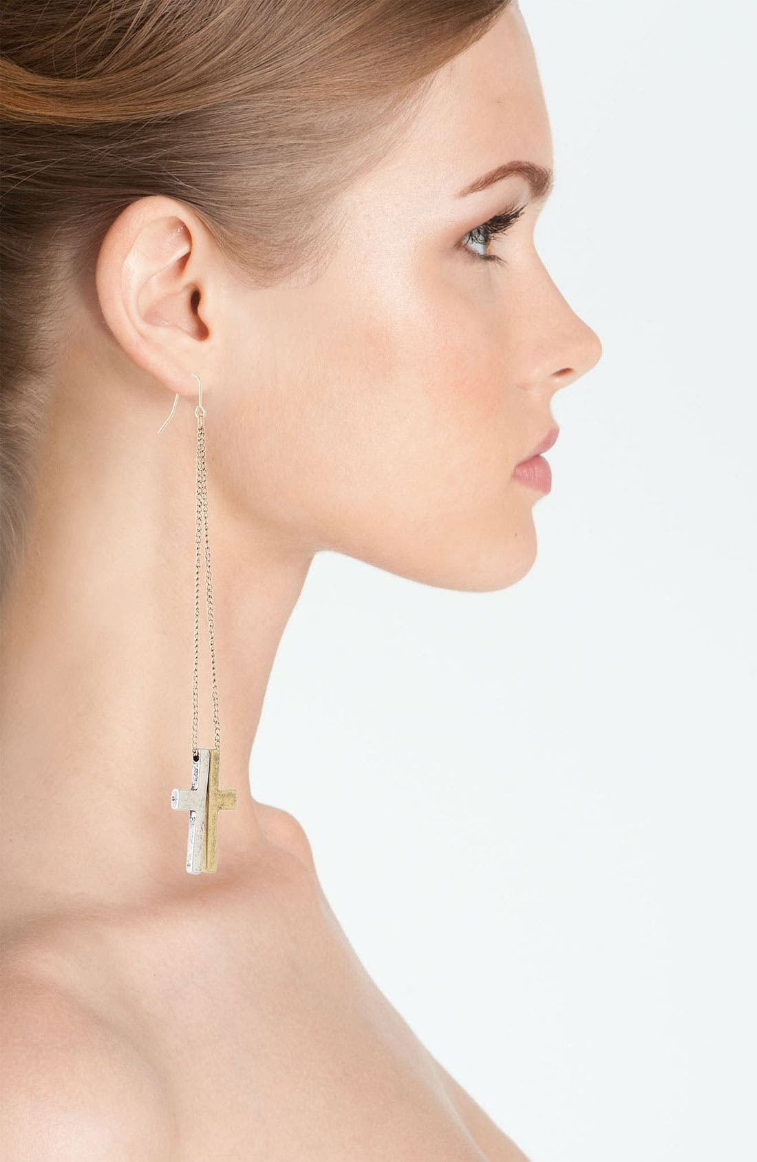Alternate Image 2  - Guinevere Two Tone Cross Earrings