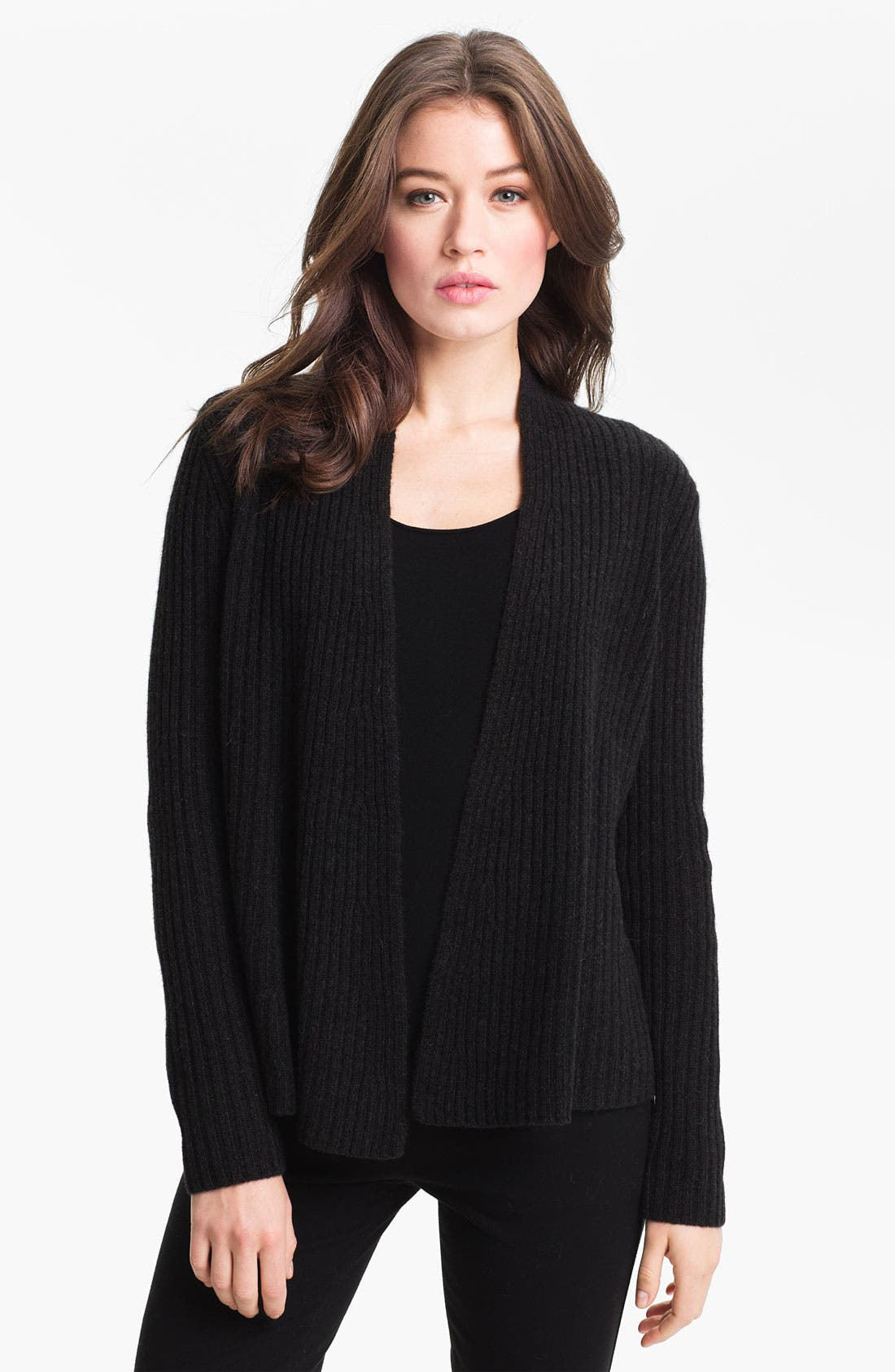 Alternate Image 1 Selected - Eileen Fisher Open Front Ribbed Cardigan