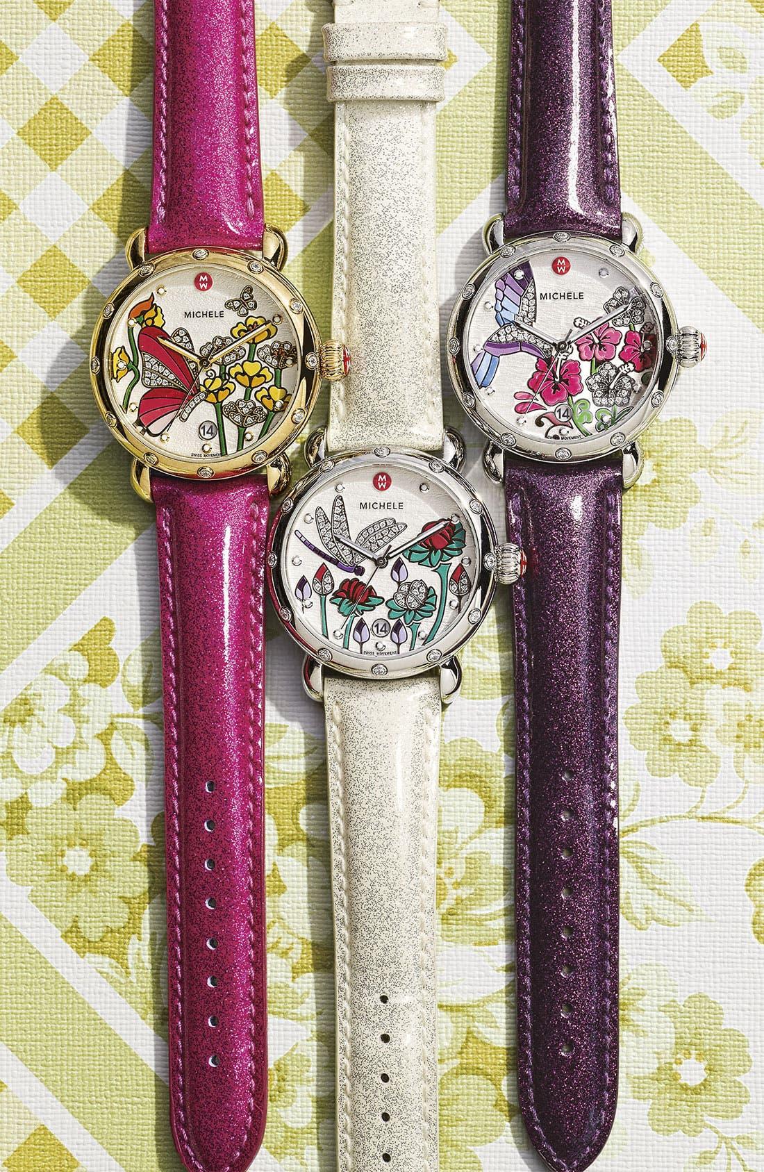 Alternate Image 2  - MICHELE 18mm Glitter Patent Leather Watch Strap