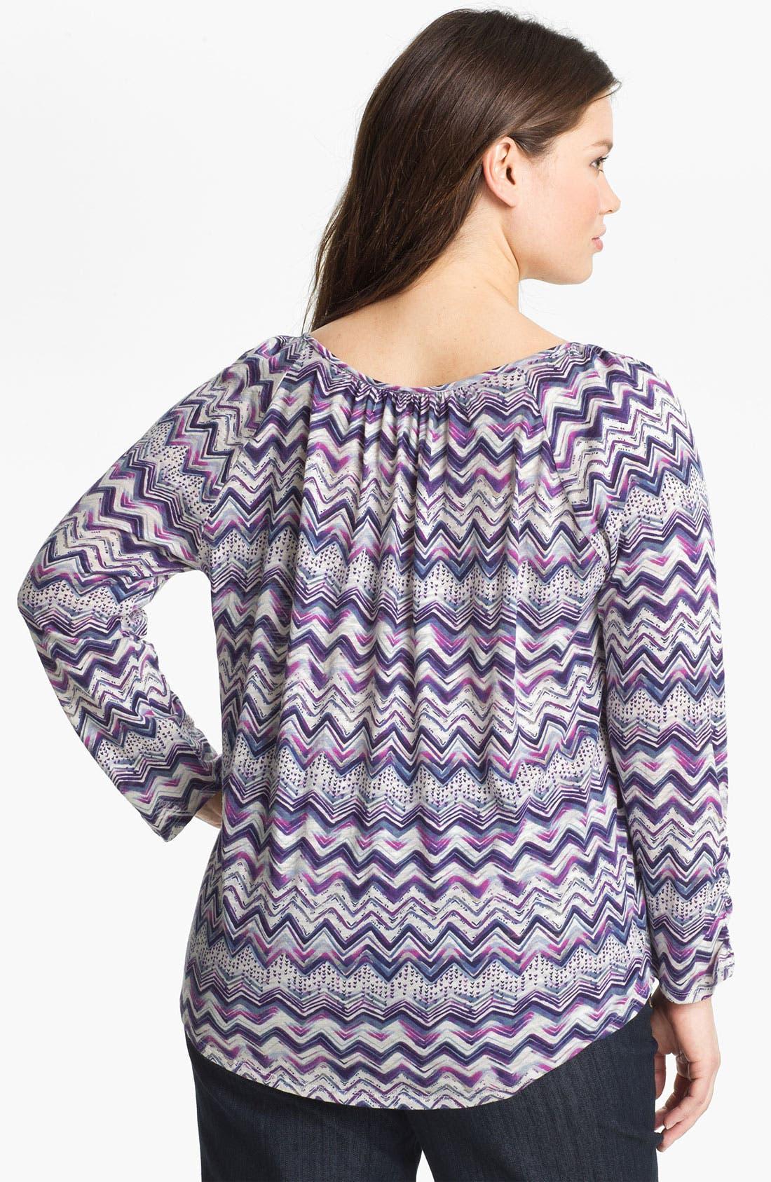 Alternate Image 2  - Lucky Brand 'Ezra' Stripe Cotton Top (Plus)