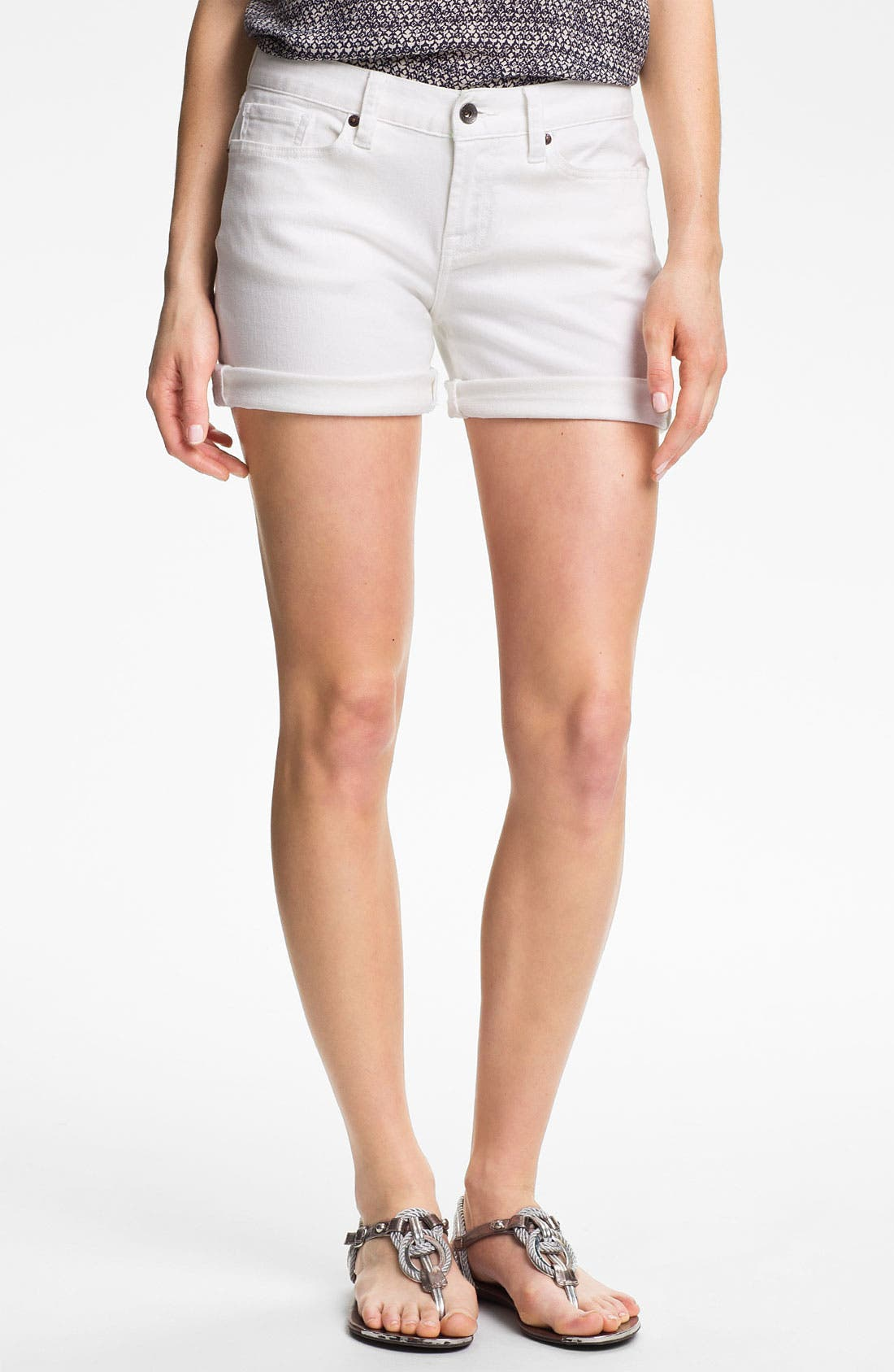 Main Image - Lucky Brand 'Abbey' Double Roll Denim Shorts (Pearl) (Online Exclusive)