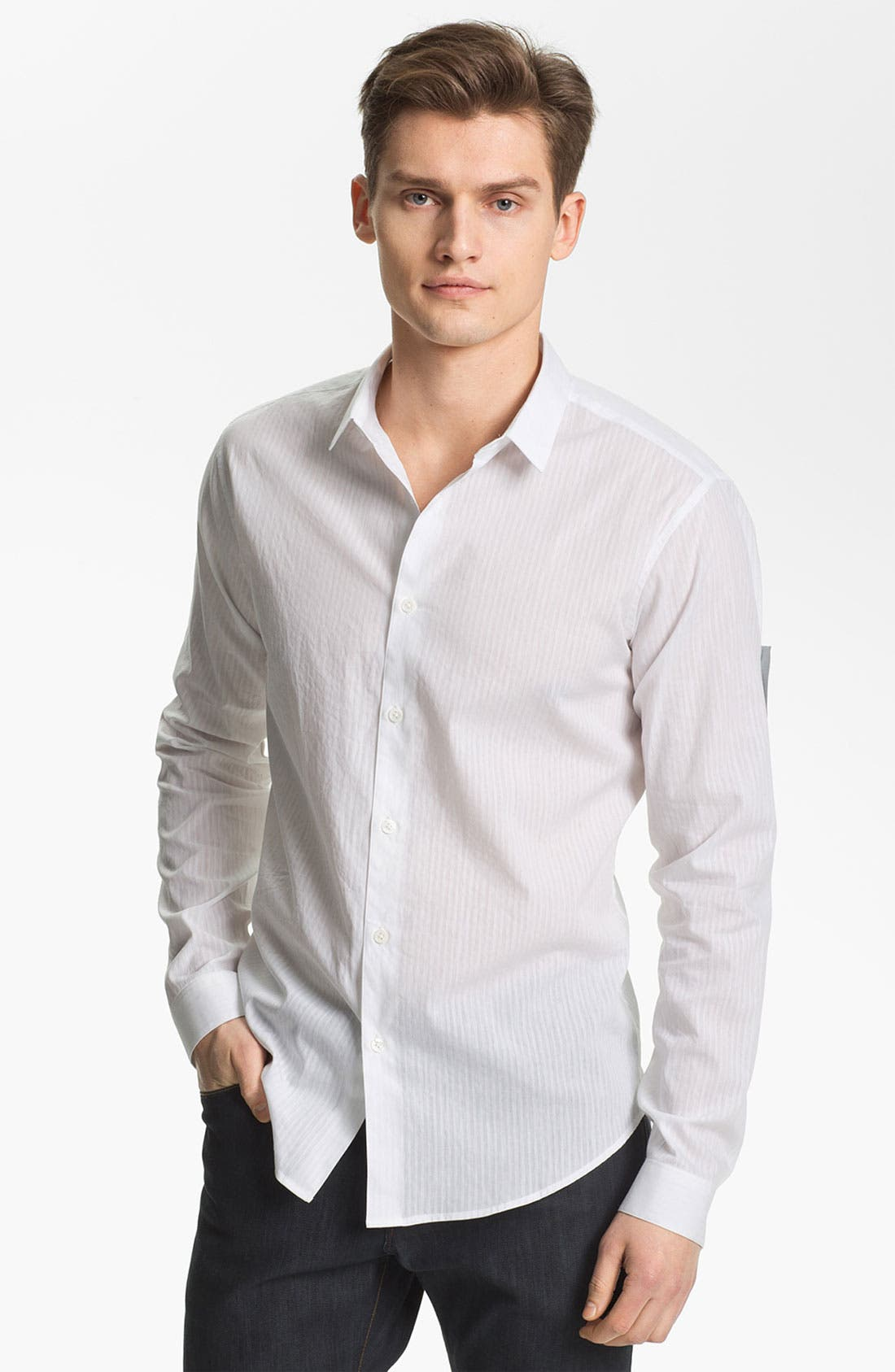 Alternate Image 1 Selected - Theory 'Stephan S. Aldine' Trim Fit Cotton & Linen Sport Shirt