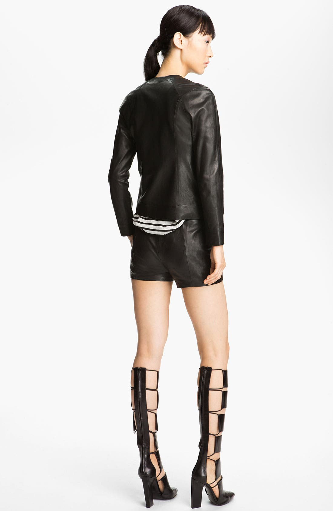 Alternate Image 5  - T by Alexander Wang Fitted Leather Jacket