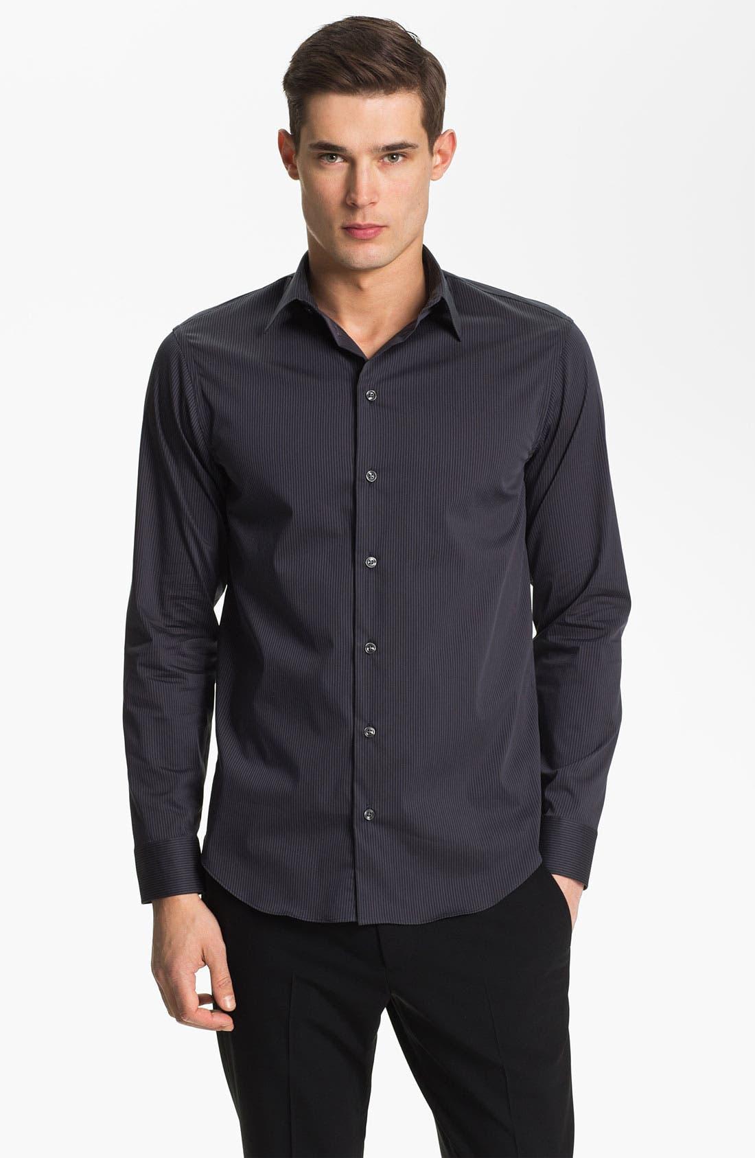 Main Image - Armani Collezioni Tonal Stripe Stretch Sport Shirt