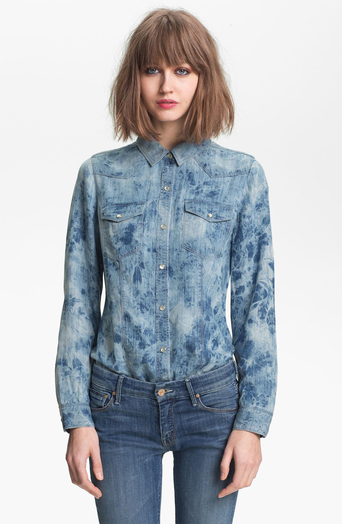 Main Image - Trouvé Acid Wash Denim Shirt