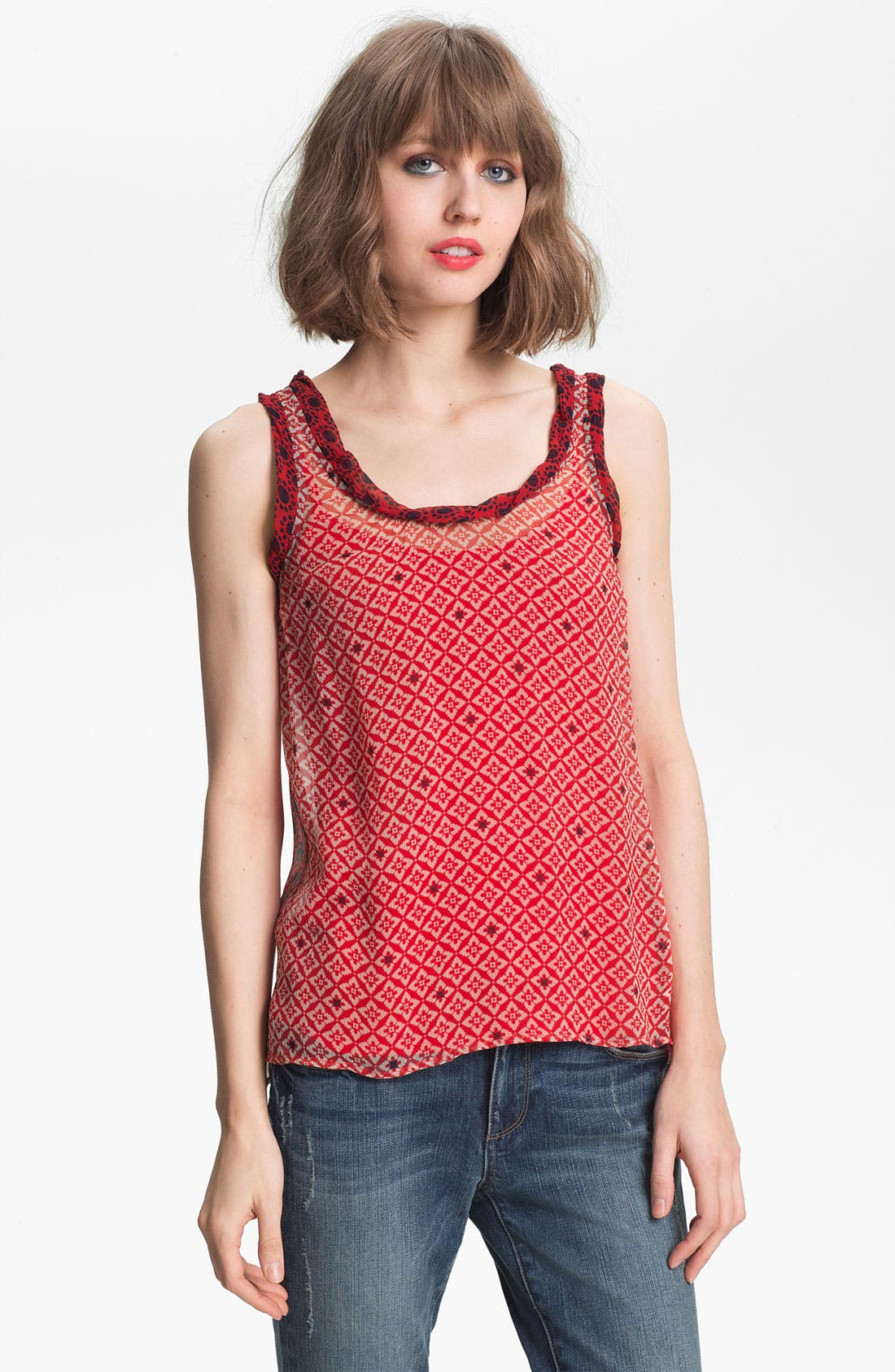Alternate Image 1 Selected - Ella Moss 'Sun Tile' Sheer Mix Print Tank